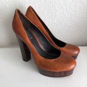 Rachel Zoe Heels Leila Brown Leather Platform 10 M